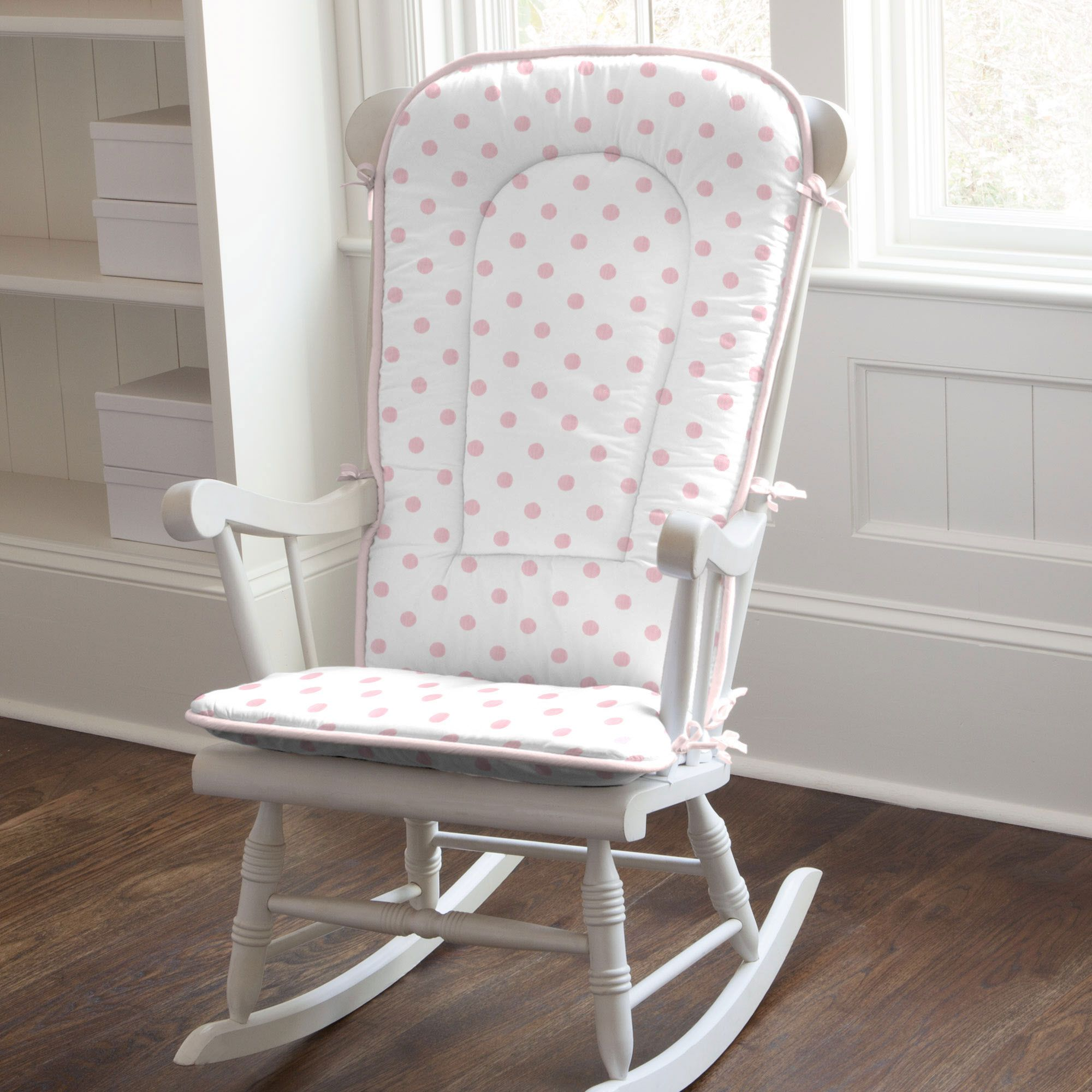 Polka Dot Rocking Chair Cushions Potty Chairs For Adults White And Pink Pad Carouseldesigns