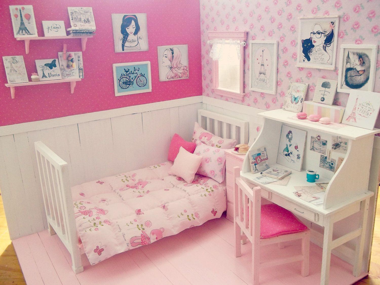 Bedroom doll ooak diorama day in paris blythe pullip pukifee lati yosd bjd dal diorama - Barbie kinderzimmer ...