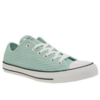 234aafefc1c9 Womens Turquoise Converse All Star Perforated Canvas Ox Trainers ...