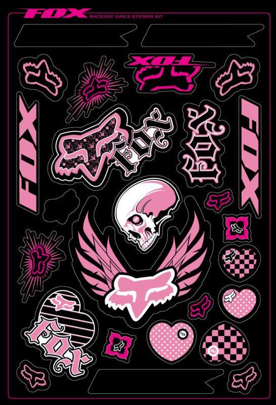 Fox Racing Girls Pink Sticker Pack Sheet Kit Decals Motorcycle