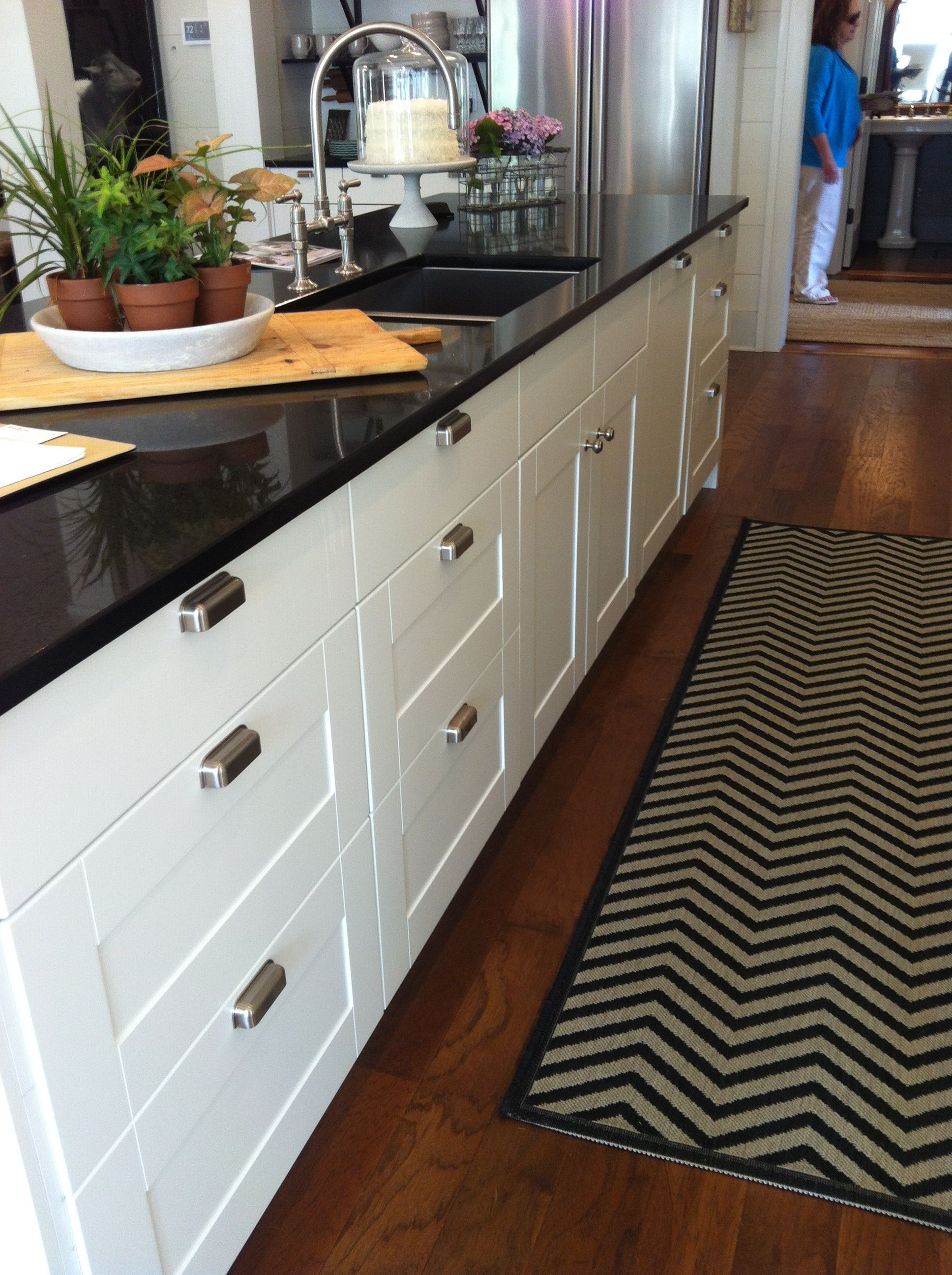 Kitchen island. The chevron rug is by Ballard Designs. | kitchen ...