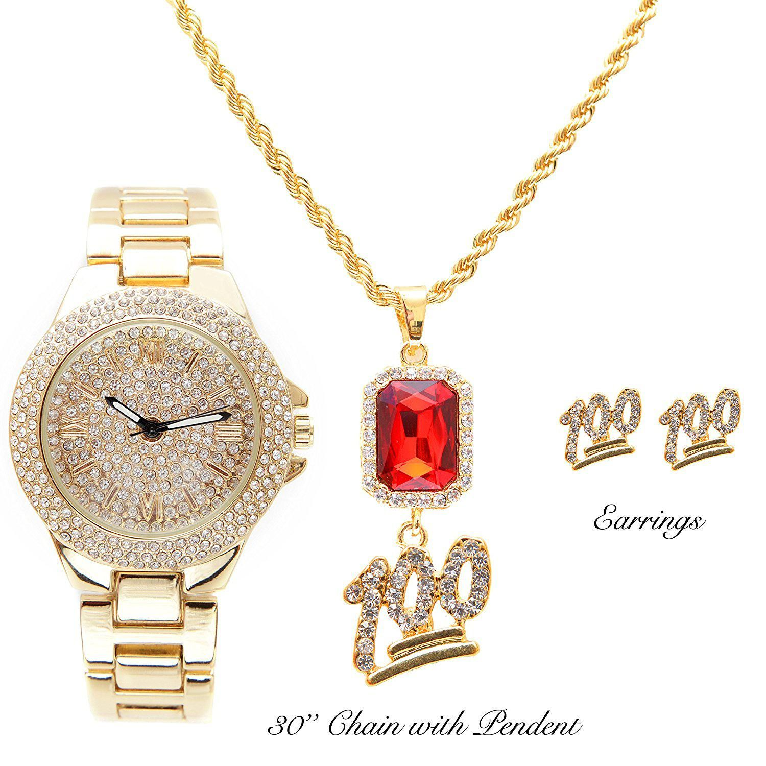 Ladies dainty beautiful hip hop bling bling watch with keep it real