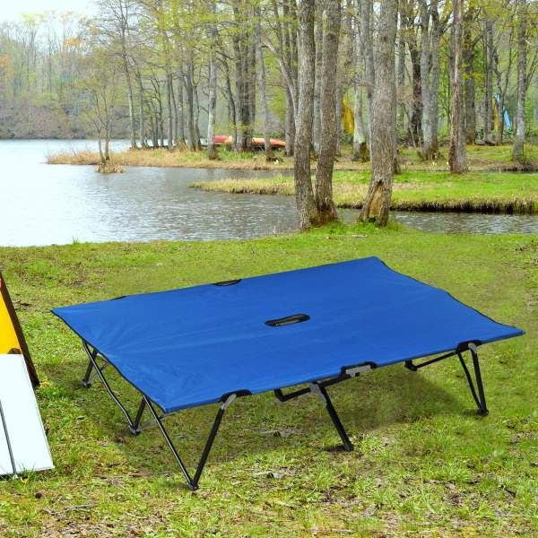 Outsunny 76u2033 Two Person Double Wide Folding C&ing Cot & Outsunny 76u2033 Two Person Double Wide Folding Camping Cot | Tent ...