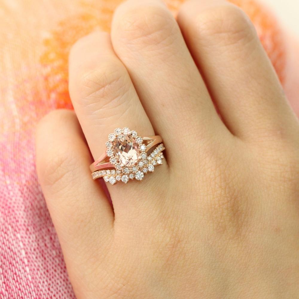 Art Deco Morganite Bridal Engagement Ring Set Crown Engagement Ring Set Oval Morganite Halo Wedding Ring Set Morganite Bridal Ring Band Set