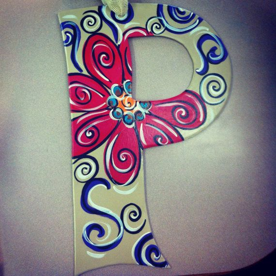 Initial Door Hanger Letter P Home Decor By Agapeartisan On