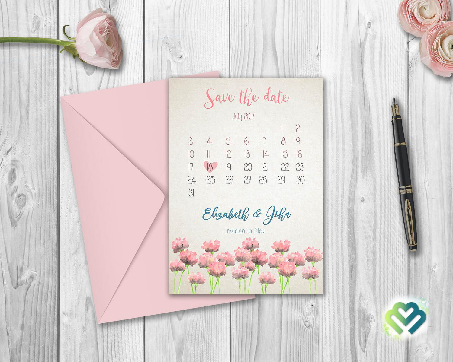 Watercolor floral save the date card printable floral save the date
