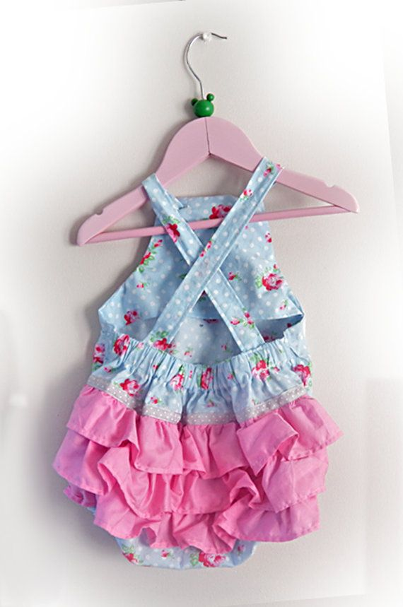 6c26a2758 Baby Girls Romper • Ruffle Romper • Pink Blue Roses • 0-3 Months • 3 ...