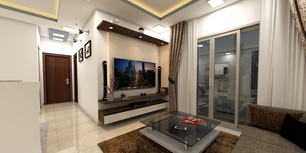 Tv Console Design Is Simple And Includes A Long Shelf Above The