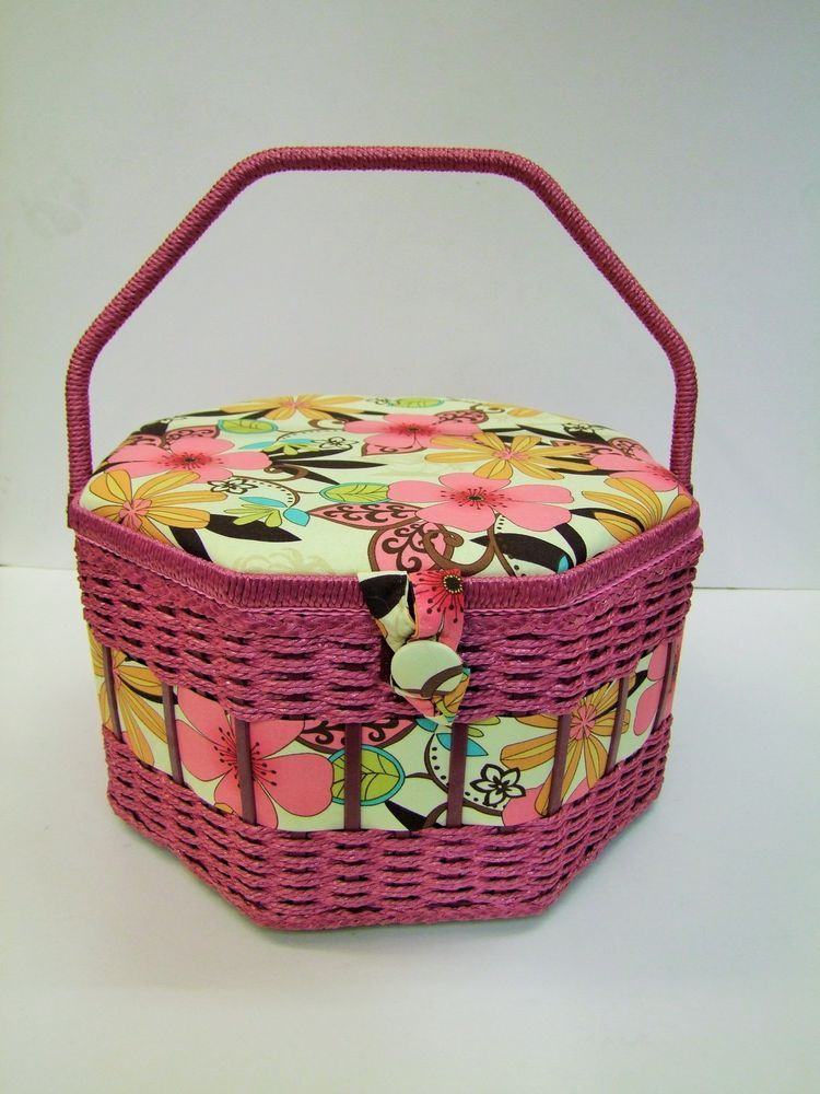 Large Octagonal Floral Sewing Basket . Find at Lenarow Limited's ebay store or instore at Wools and Crafts 169 Blackstock Rd London N4 2JS tel 020 7359 1274