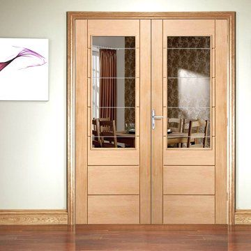 A stylish horizontal panelled Oak door pair in the Internal Door Range with a large clear & Palermo Oak 2XG Door Pair with Clear Etched Safety Glass | Oak doors ...