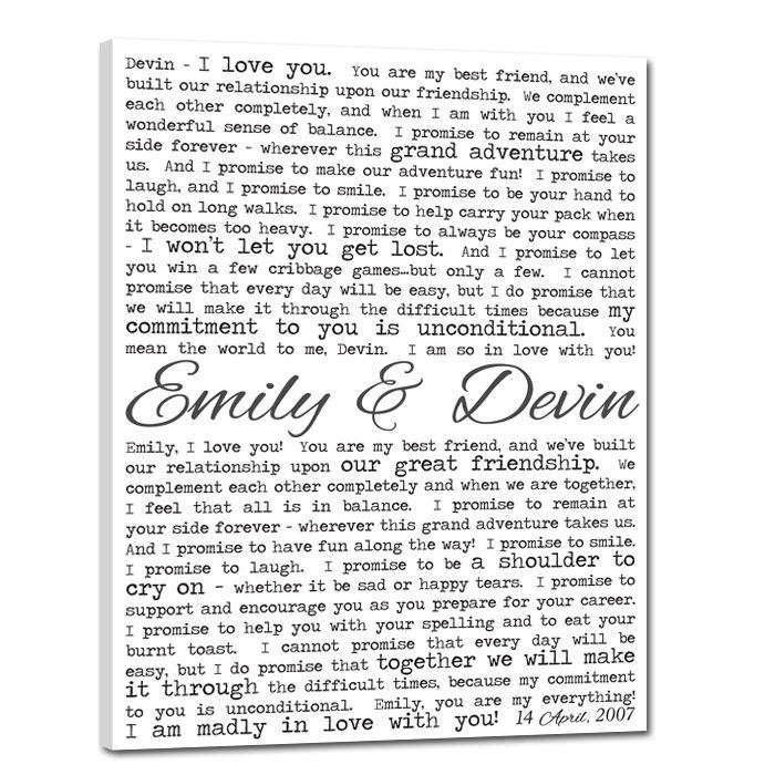 Wedding Vows Gifts Ideas: Wedding Vows On Canvas = Super Cute Reminder