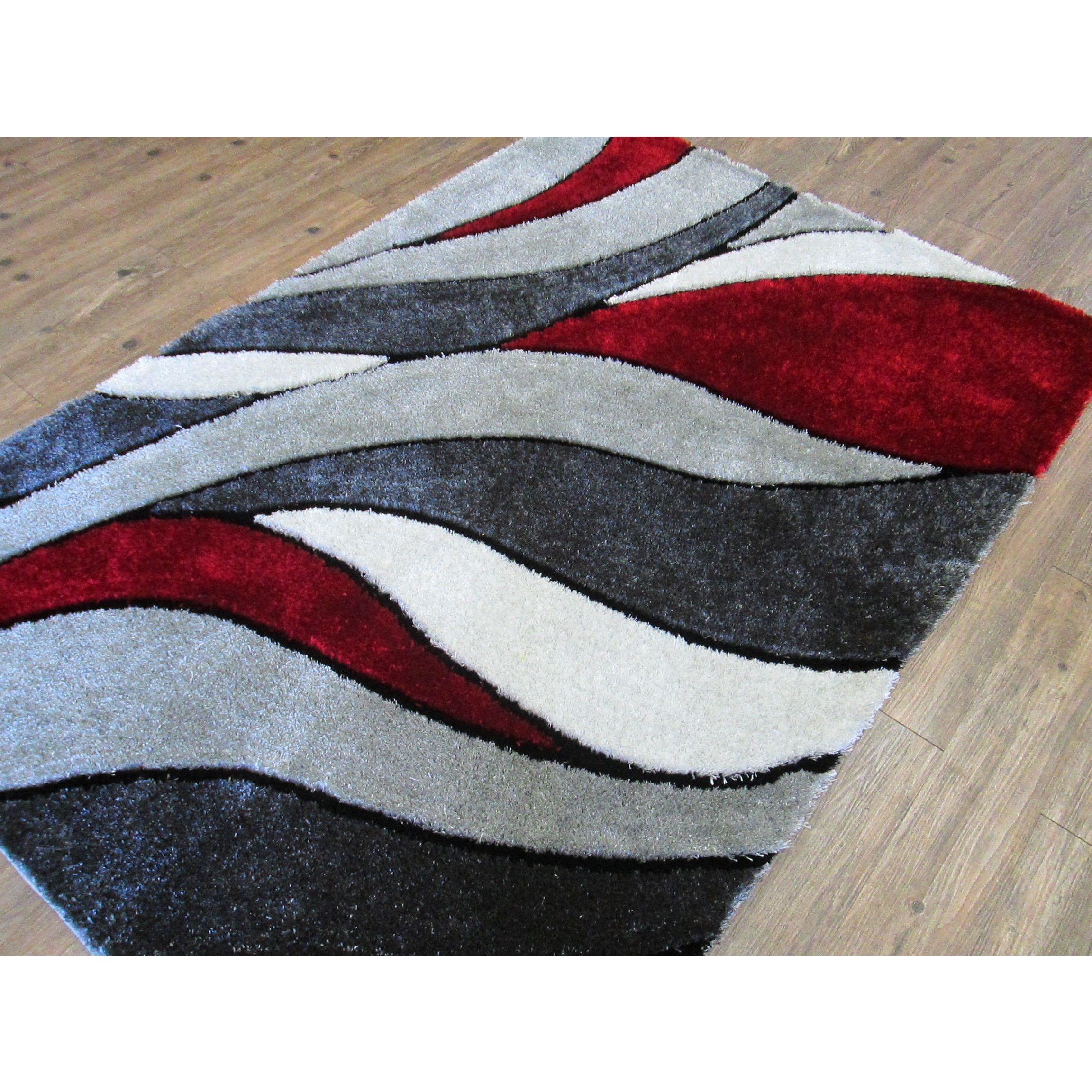 Abstract Red Gray Modern Hand Tufted Shag Area Rug 5 X 7 Grey