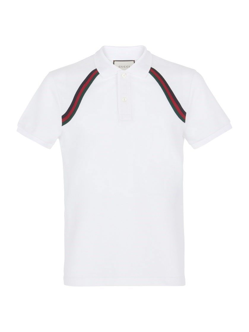 84f07672 GUCCI White Web Polo Shirt. #gucci #cloth #polo shirts   Gucci Men ...