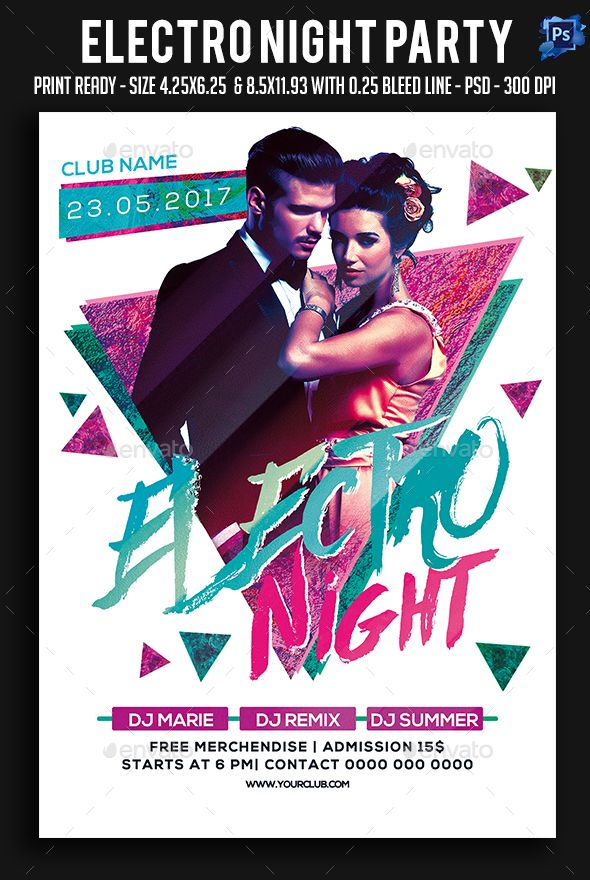 Electro Night Party Flyer Template PSD Flyer Templates Pinterest