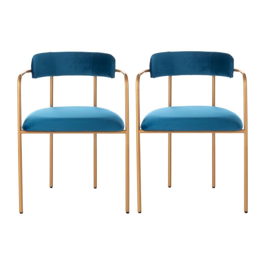 Best Safavieh Camille Navy Gold Accent Chair Set Of 2 400 x 300
