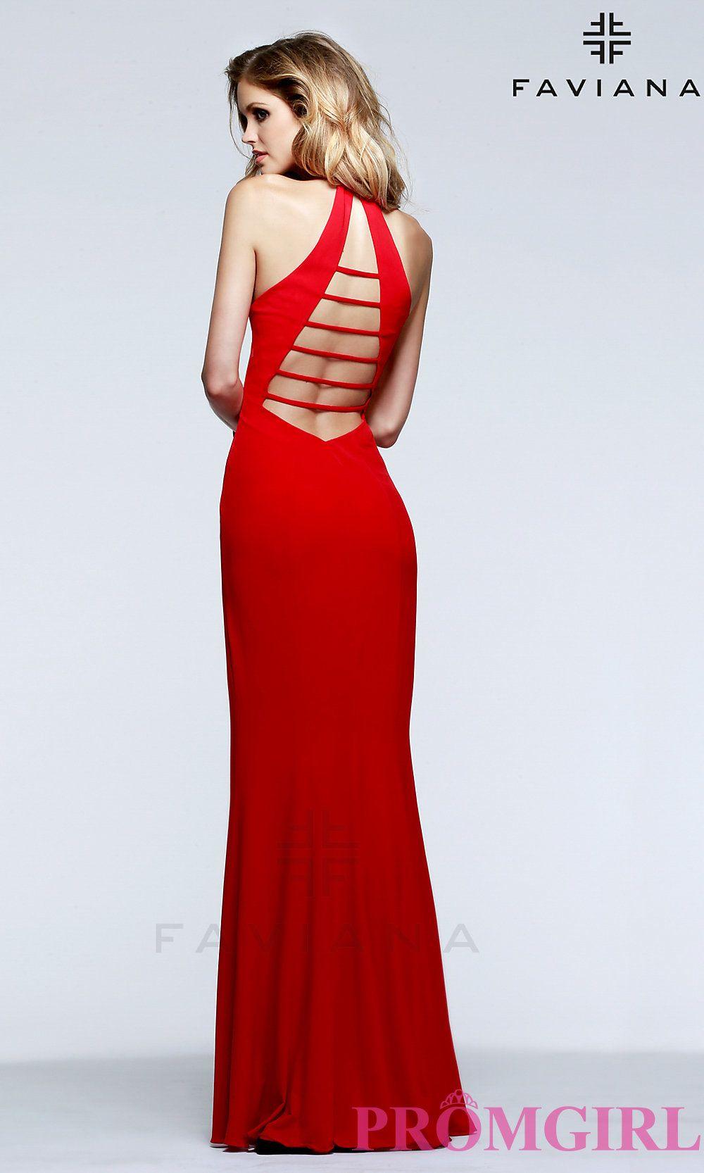 Long low cut vneck faviana halter prom dress prom pinterest