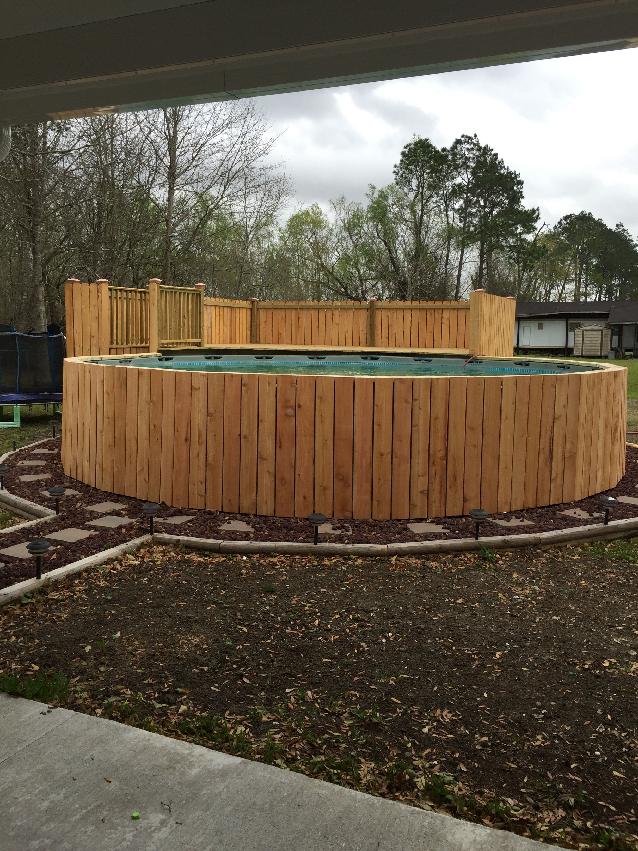 Pool With Half Deck Above Ground Pool Landscaping Backyard Pool Landscaping Intex Above Ground Pools