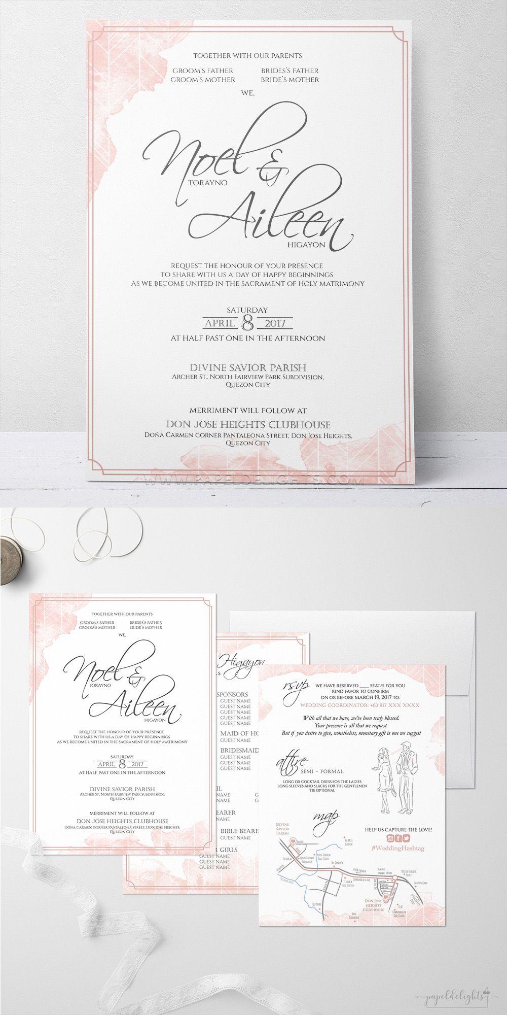 Watercolor Wedding Invitation Papeldelights Design Studio