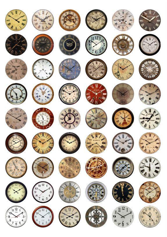 Clock Faces Printable 1-Inch Circles / Bottlecap Images / Vintage ...