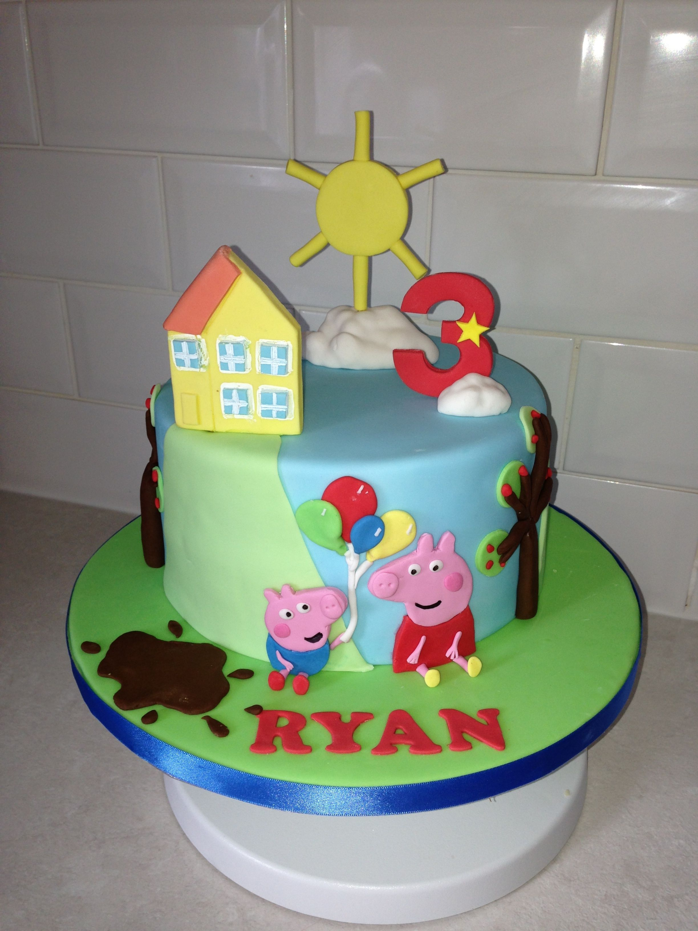 One Tier Peppa Cake With Images Peppa Pig Cake Peppa Pig Cupcakes