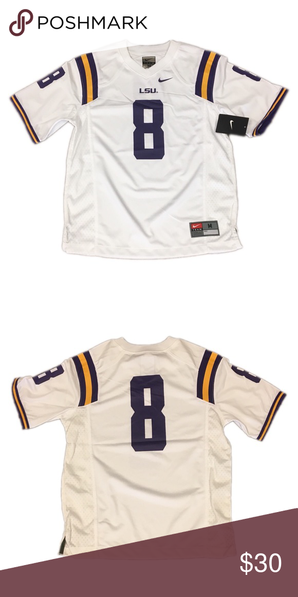 check out aa25d b9b36 LSU Tigers Nike #8 Football Jersey Youth Medium NWT | My ...