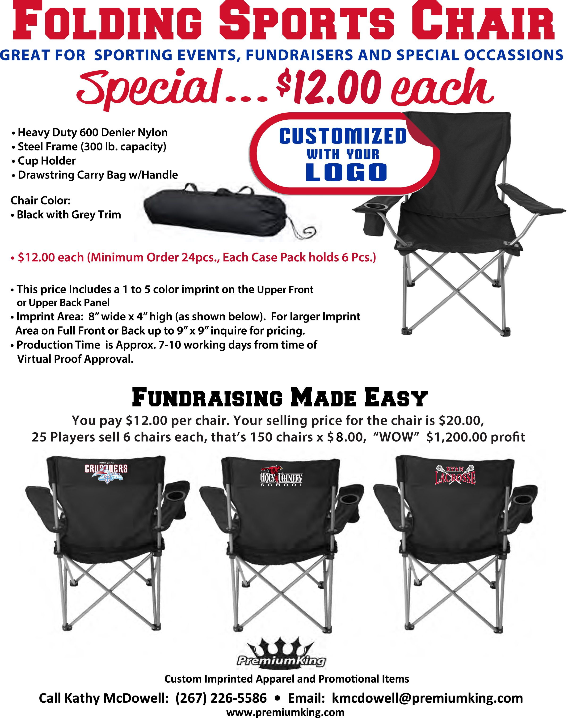 Fundraiser Idea - Folding sports chairs with team logo | Fundraising ...