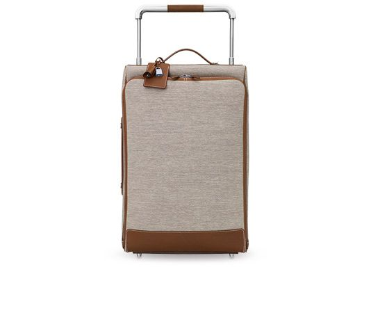96ee77b262f5 Calèche-express Hermes rolling luggage in ecru/taupe water-resistant H Tech  canvas and fawn barenia calfskin, brushed silver and palladium-plated  hardware.