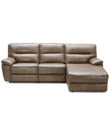 Kory 3-Piece Leather Sectional with Chaise & 2 Power ...