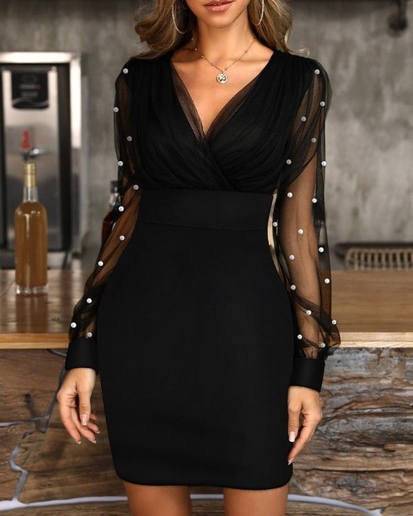 Beads Embellished Mesh Bodycon Dress