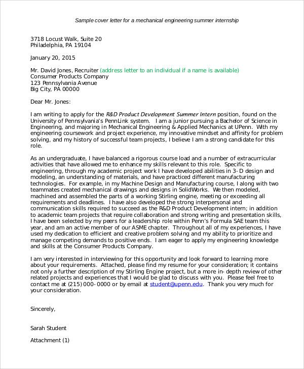 job application letters for internship free sample example catchy - engineering cover letters