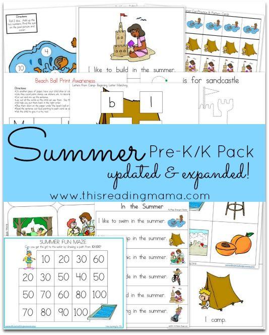 FREE Summer PreK/K Pack {Updated & Expanded} Preschool