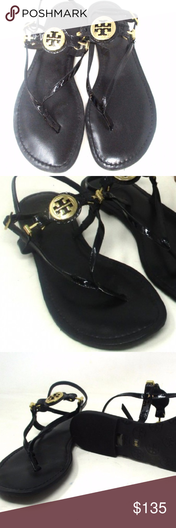 07da52dd6c5 Authentic TORY BURCH Dillan Sandals Excellent preloved condition Tory Burch  black patent leather sandals with golden logo hardware. Size 8.