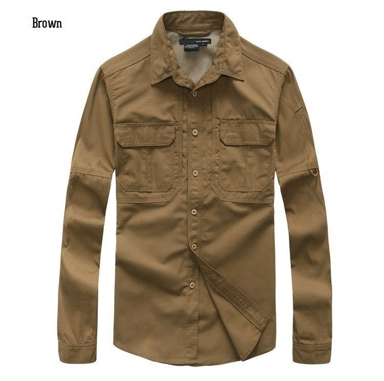 Tactical Outdoor Sports Mens Cotton Canvas Earproof Wear Resisting Plaid Full Long Sleeved Camouflage Shirts For Camping Fishing