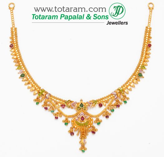22K 22 Karat Gold Necklaces Diamond Necklaces Ruby Emerald