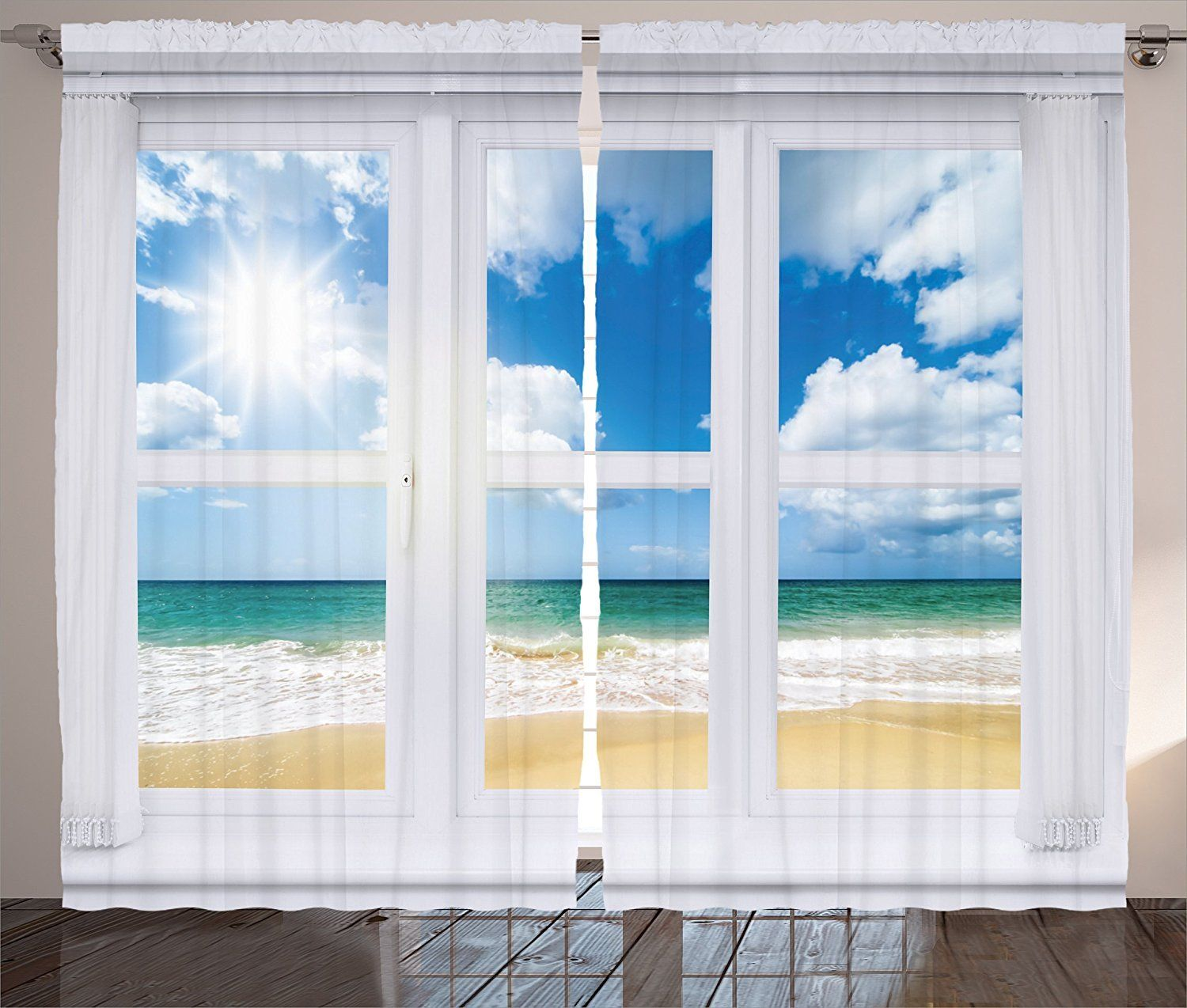 House Decor Curtains Beach House Window Overlooking An Ocean View Bright Sunshine Sandy Cloudscape Living Room Be Beach House Decor Beach Curtains House Window