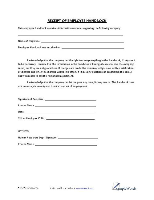 Receipt of Employee Handbook Employee handbook, Business and Tax - proof of employment form
