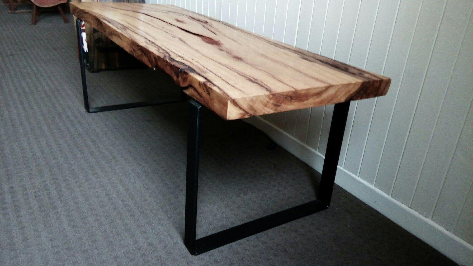 A Marri Slab And Squared Steel Leg Coffee Table From Workshop87 Trunk Furniture Seasoned Wood Furniture Making [ 1008 x 1792 Pixel ]