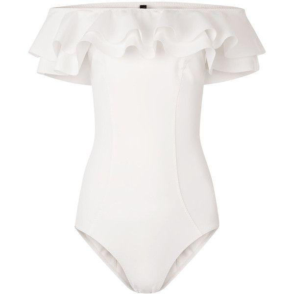 0d4a124332970 Lisa Marie Fernandez White Mira Double Ruffle Swimsuit (£269) ❤ liked on  Polyvore featuring swimwear, one-piece swimsuits, swimsuit, swim, body,  bodysuit, ...