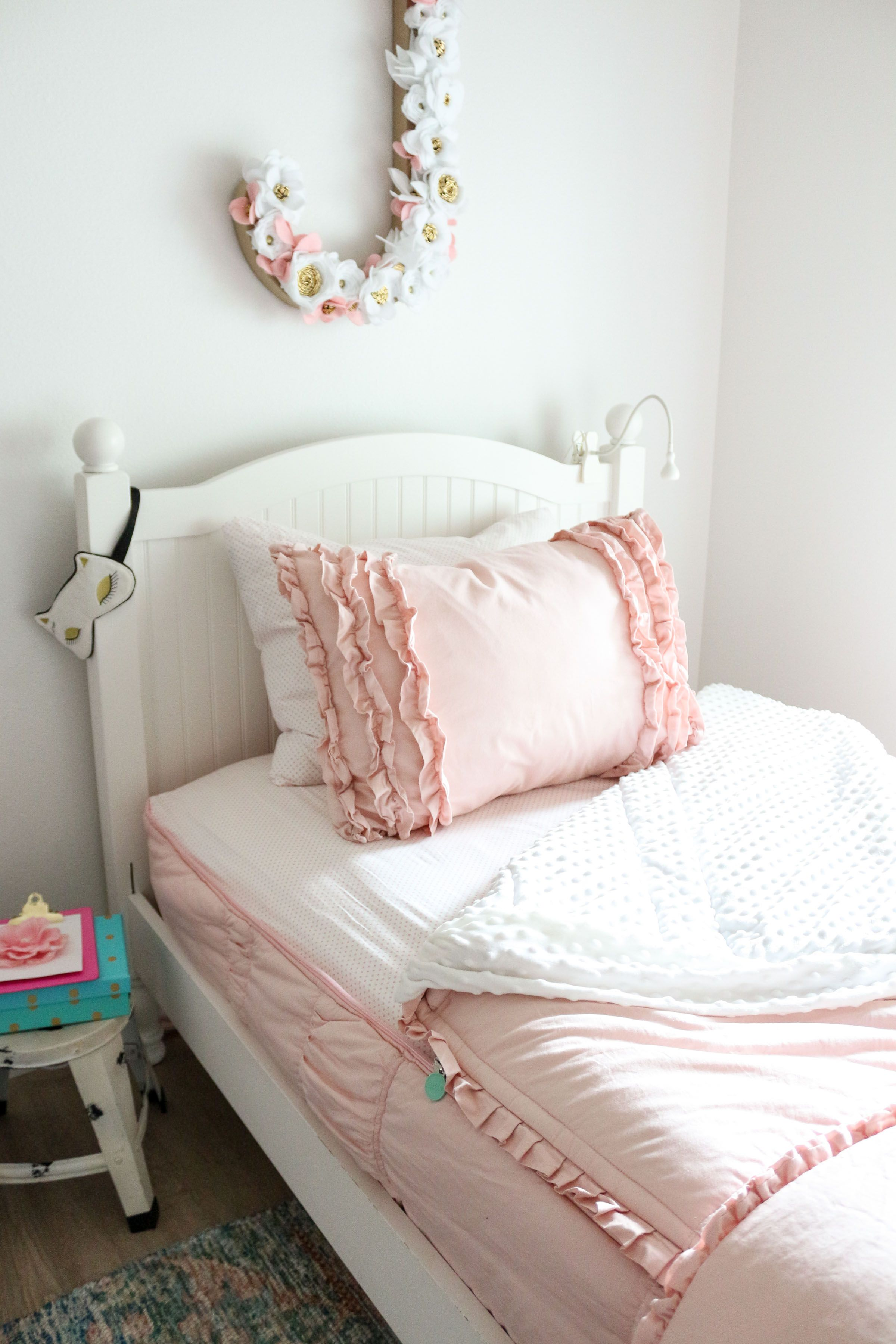 Girls Shared Bedroom Why We Love Our Blush Pink Ruffle Bedding