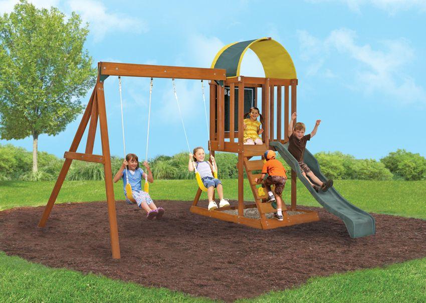 Simple swing set | Backyard playset, Wooden swing set ...