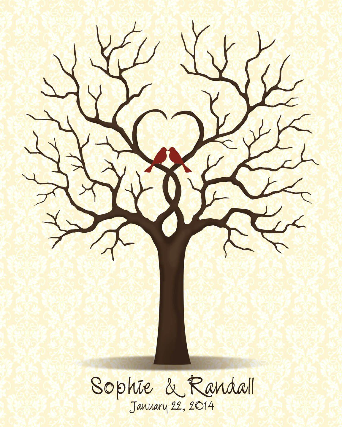 Wedding Guestbook Tree Guest Book with Love Birds, Family Tree