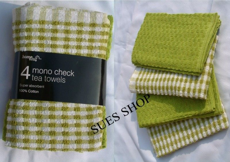 SET OF 4 LIME GREEN & WHITE MONO CHECK COTTON KITCHEN TEA TOWELS NEW   eBay