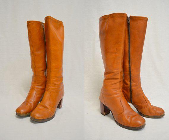 1970s 8 85 Knee High Leather Boots Vintage Wooden Heel Brown