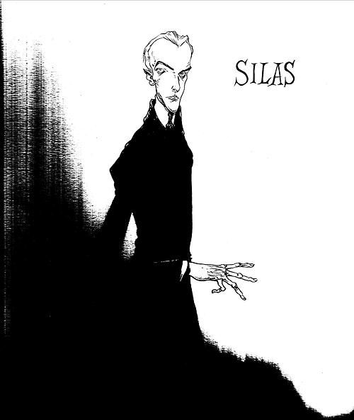 """Silas from """"The Graveyard Book"""" by Neil Gaiman. Art by Chris Riddell."""