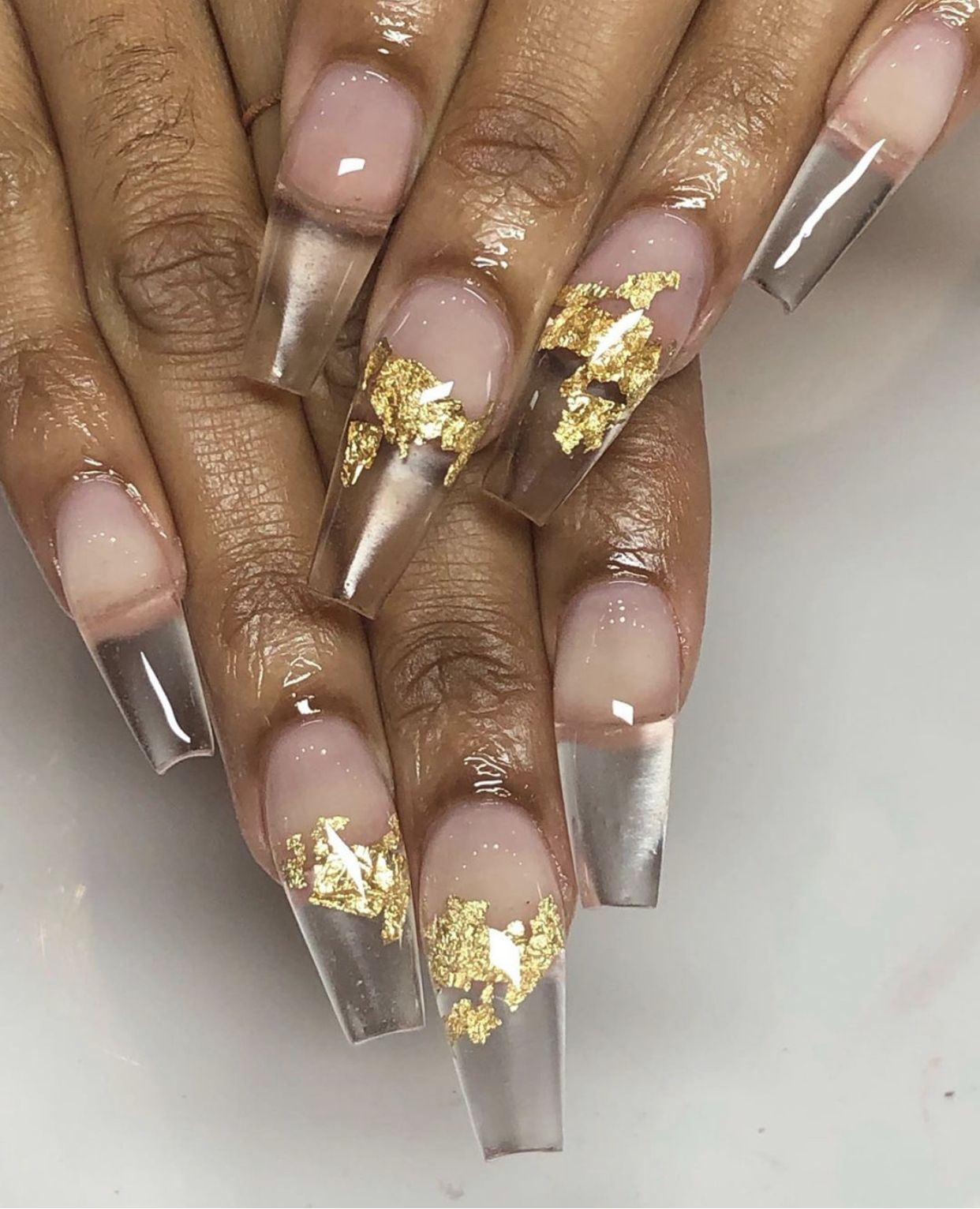 Clear coffin nails w gold flakes nails clear nails