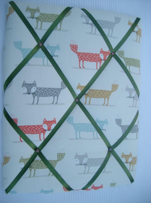 Fox Fabric memo board, Kitchen noticeboard, Fryetts Foxy Fox Fabric ...