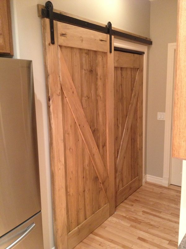His her custom pantry sliding barn door awesome for Sliding pantry doors