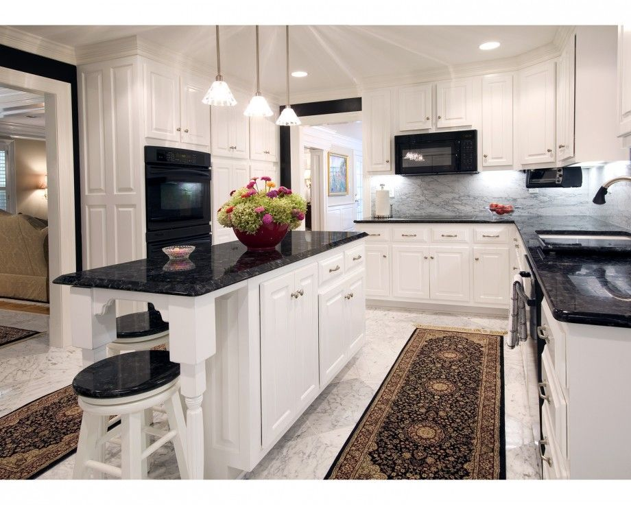 White Kitchen Black Granite off white cabinets with granite countertops ideas | kitchen design