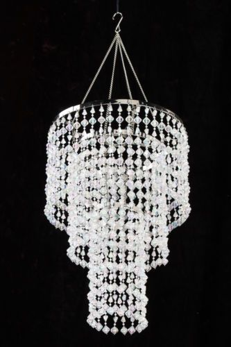 15 Clear Iridescent Faux Crystal Like 3 Tier Beaded Chandelier Home Decoration Crystal Chandelier Bedroom Beaded Chandelier Crystal Chandelier
