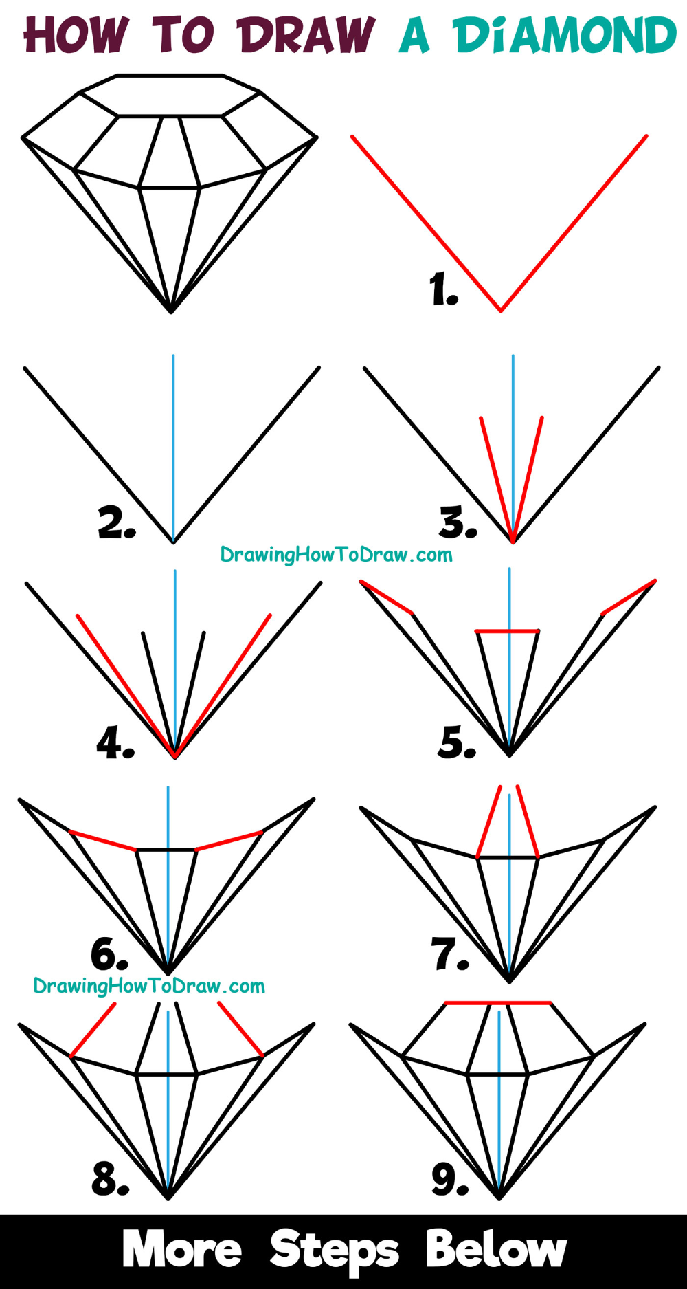 How to Draw a Diamond Easy Step by Step Drawing Tutorial ...